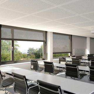 binnenscreens binnenzonwering screens binnen bedrijven zonwering scholen panden gebouwen rolgordijnen rhenen Veenendaal Ede Wageningen