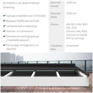 solidsky screens Ede schuin dak serrezonwering lichtstraten lichtstraat Frema zonwering Rhenen Veenendaal Ede Wageningen Utrecht Gelderland Betuwe eo